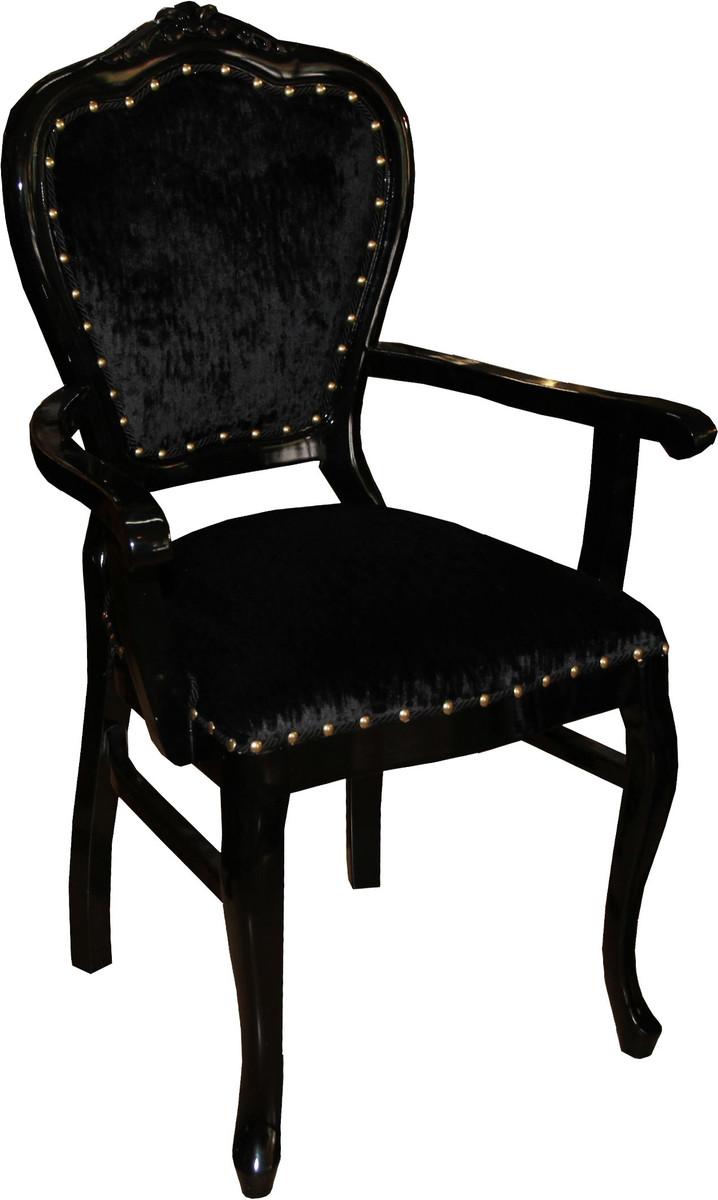 casa padrino barock luxus damen stuhl mit armlehnen schwarz schwarz damen schminktisch stuhl. Black Bedroom Furniture Sets. Home Design Ideas
