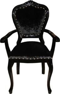 Casa Padrino Barock Luxus Stuhl mit Armlehnen Schwarz / Schwarz