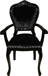 Casa Padrino Baroque Luxury Ladies Chair with Armrests Black Black - Ladies Dressing Table Chair - Limited Edition