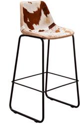 Casa Padrino Designer Barstuhl Echtfell Weiss / Braun 45 x 50 x H. 110 cm -  Barhocker mit Rückenlehne