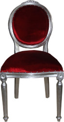 Casa Padrino Baroque medallion luxury dining chair without armrests in Bordeaux / silver - Limited Edition