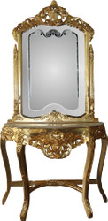 Casa Padrino Baroque mirror console gold with marble top and beautiful Baroque decorations on the mirror glass Mod6 - antique look