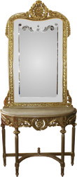 Casa Padrino Baroque mirror console gold with marble top and with beautiful Baroque ornaments on the mirror glass Mod7 - antique look