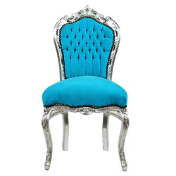 Casa Padrino Baroque dining room chair Turquoise / silver