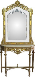 Casa Padrino Baroque mirror console gold with marble top and with beautiful Baroque ornaments on the mirror glass Mod8 - antique look