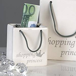 Designer money box handbag ceramic white / silver Shopping Princess - Great gift idea