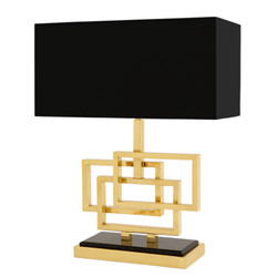 Casa Padrino Luxury Table Lamp Gold / Lampshade Black 48 x 40 cm - Lamp - Luxury Collection