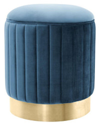 Casa Padrino Stool Blue / Brass Ø 40 x H. 45 cm - Luxury Stool