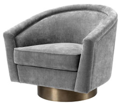 Casa Padrino swivel armchair gray / matt gold 85 x 76 x H. 76 cm - Luxury Living Room Furniture