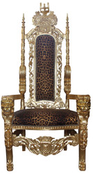 Casa Padrino Baroque Throne Armchair Gold / Leopard Chair - Wedding Chair - Giant Armchair