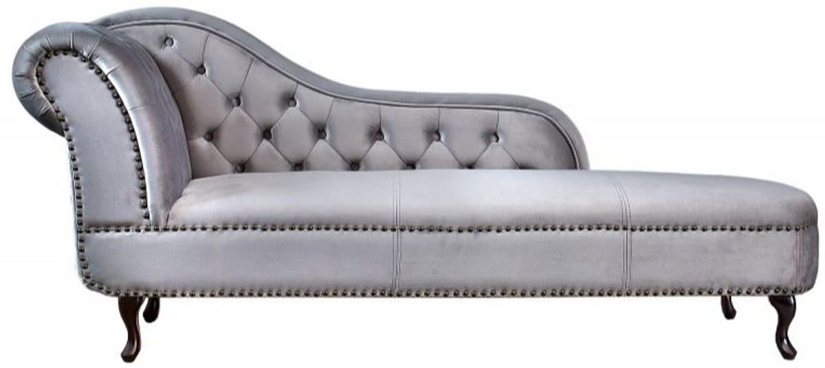Chesterfield Recamiere / Chaiselongue Silbergrau Aus Dem Hause Casa Padrino    Wohnzimmer Liege Sofa