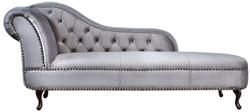 Chesterfield Recamiere / Chaiselongue Silbergrau aus dem Hause Casa Padrino - Wohnzimmer Liege Sofa