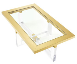 Casa Padrino luxury coffee table / living room table gold 140 x 80.5 x H. 43 cm - Living Room Furniture