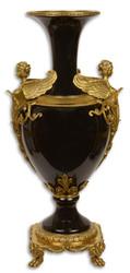 Casa Padrino Jugendstil Vase Schwarz / Gold 26,6 x 21,2 x H. 57,3 cm - Balustervase