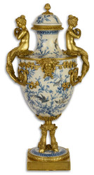 Casa Padrino Art Nouveau Vase with Lid White / Blue / Gold 25.8 x 24.5 x H 51.3 cm - Baroque & Art Nouveau Decoration