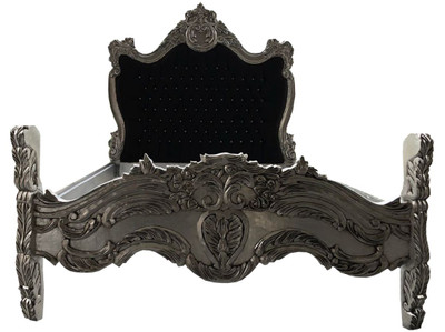 Baroque bed Barocco Black / Silver Bling Bling Rhinestones 140 x 200 cm from the luxury collection Casa Padrino