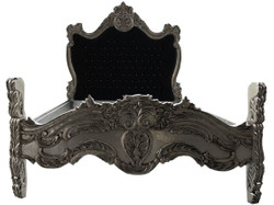 Baroque bed Barocco Black / Silver Bling Bling Rhinestones 140 x 200 cm from the luxury collection Casa Padrino 1