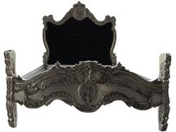 Casa Padrino Barock Bett Schwarz / Silber Bling Bling Glitzersteine 140 x 200 cm aus der Luxus Kollektion von Casa Padrino