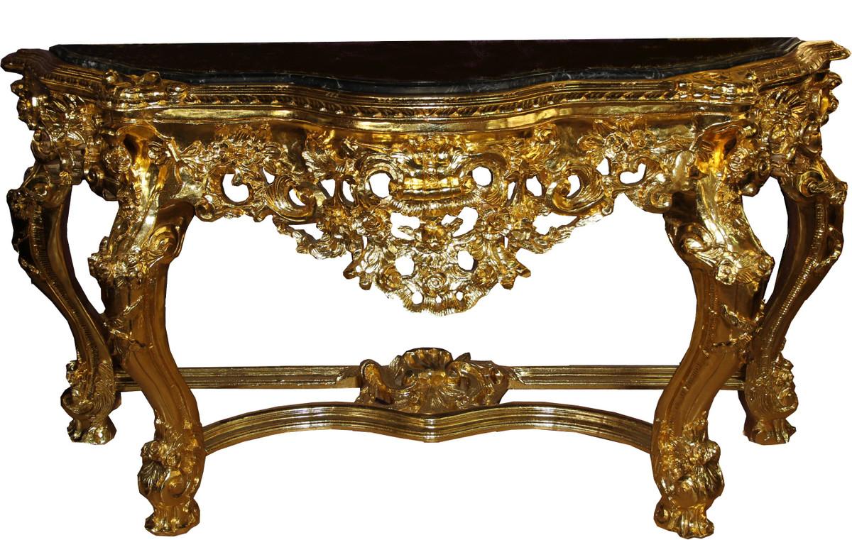 casa padrino luxus barock spiegelkonsole mit marmorplatte gold 175 x h265 cm hotel mobel