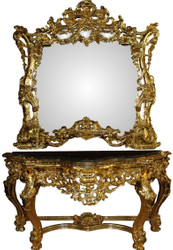 Casa Padrino Luxury Baroque Mirror Console with Marble Top Gold 175 x H265 cm - Hotel Furniture - Limited Edition