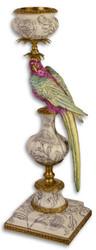 Casa Padrino Jugendstil Kerzenhalter mit Papagei Mehrfarbig / Gold 19 x 18,4 x H. 58,3 cm - Wohnzimmer Deko
