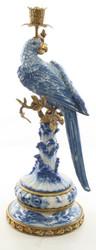 Casa Padrino Art Nouveau Candlestick with Parrot Blue / White / Gold 22.1 x 18.6 x H. 49.4 cm - Art Nouveau Porcelain Deco Candle Holder