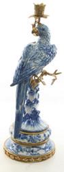 Casa Padrino Art Nouveau Candlestick with Parrot Blue / White / Gold 21.8 x 18.6 x H. 50.7 cm - Art Nouveau Porcelain Deco Candle Holder