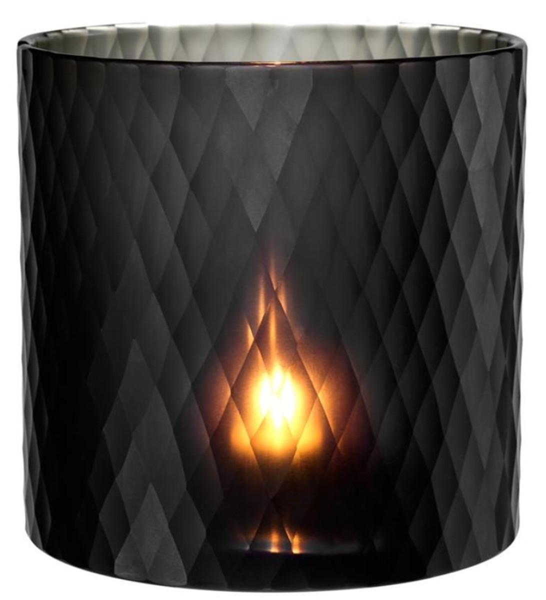 Casa Padrino Glas Teelichthalter Schwarz ø 20 X H 20 Cm Luxus