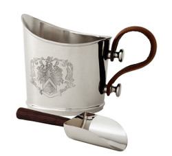 Casa Padrino Luxury Ice Bucket with Shovel Set Silver / Brown 24 x 15 x H. 18 cm - Hotel & Restaurant Accessories