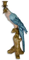 Casa Padrino Jugendstil Kerzenständer mit Papagei Blau / Weiß / Gold 25 x 20,9 x H. 50,2 cm - Kerzenhalter