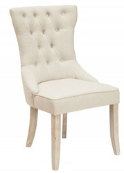 Casa Padrino Chesterfield dining chair beige 57 x 67 x h. 98 cm - Designer dining room furniture