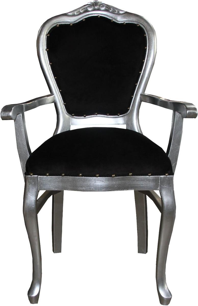 casa padrino barock luxus damen stuhl mit armlehnen schwarz silber damen schminktisch stuhl. Black Bedroom Furniture Sets. Home Design Ideas