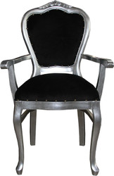 Casa Padrino Baroque Luxury Ladies Chair with Armrests Black Silver - Ladies Dressing Table Chair - Limited Edition