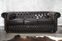 Casa Padrino Chesterfield 3 seater sofa Dark Brown - Living room couch furniture