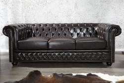 Casa Padrino Chesterfield 3er Sofa Dunkelbraun - Wohnzimmer Couch Möbel