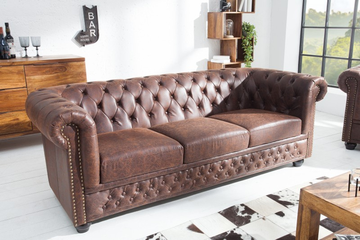 Genial Chesterfield 3 Seater Sofa Brown By Casa Padrino Living Room Couch
