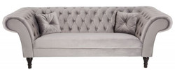 Casa Padrino Chesterfield Sofa in Silbergrau 230 x 90 x H. 79 cm - Designer Chesterfield Sofa