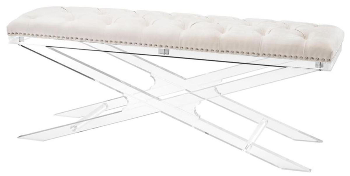 Casa Padrino Luxus Acryl Sitzbank mit Naturfarbenem Samtstoff 120 x 40 x H.  48,5 cm - Designermöbel | Ceres Webshop