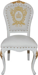 Pompöös by Casa Padrino Luxury Baroque Dining Chair White / Gold with Crown - Pompööser Baroque Chair designed by Harald Glööckler