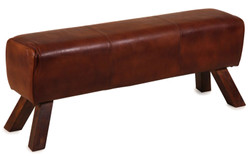Casa Padrino luxury bench dark brown 120 x 35 x H. 47 cm - Leather Bench in Turnbock Look