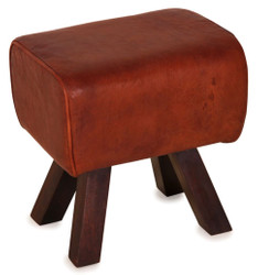 Casa Padrino luxury stool brown / dark brown 44 x 32 x H. 45 cm - Stool in Turnbock Look
