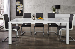 Contemporary Design table high gloss white - Extensible 120-200 cm of Casa Padrino - dining table