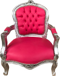 Casa Padrino Baroque Kids Chair Pink Leather Look / Silver - Kids Furniture