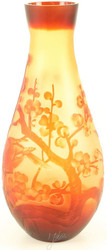 Casa Padrino Luxury Glass / Cameo Glass Vase Cherry Blossom Multicolor Ø 16.2 x H 37.1 cm - Deco Flower Vase