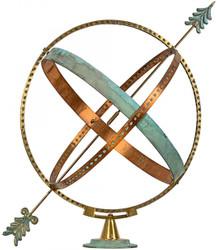 Casa Padrino Art Nouveau Sundial Gold / Copper / Mint Green Ø 50 x H. 60 cm - Handmade Luxury Garden Decoration
