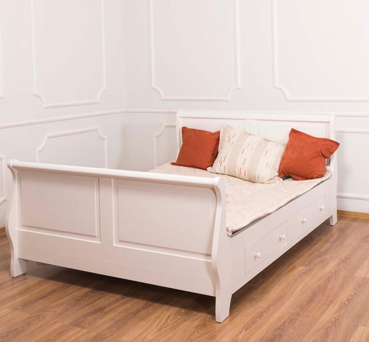 Casa Padrino Landhausstil Bett Altweiß 140 x 200 cm ...