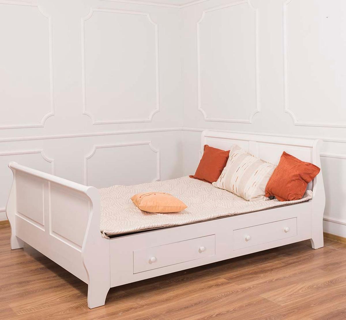 Casa Padrino Landhausstil Bett Altweiß 140 X 200 Cm   Schlafzimmermöbel Im  Landhausstil