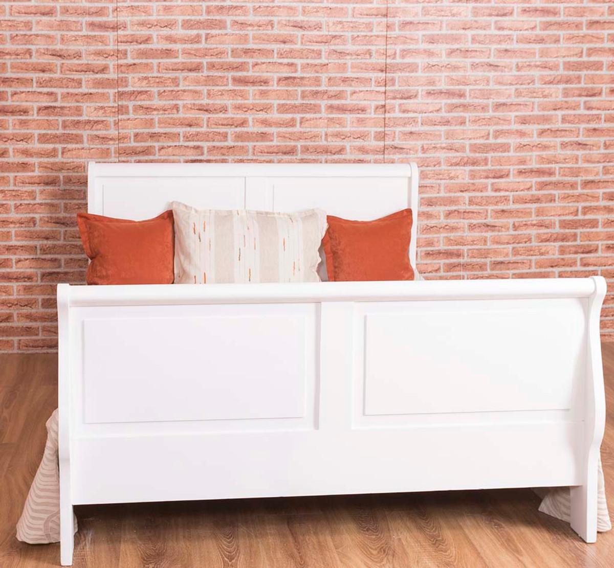 Letto stile country Casa Padrino bianco antico 140 x 190 cm - Mobili da  camera da letto in stile country