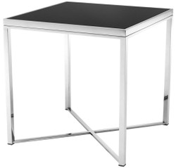 Casa Padrino luxury stainless steel side table with black glass top 61 x 61 x H. 61.5 cm - Living Room Furniture