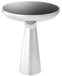 Casa Padrino Luxury Side Table Silver / Black Ø 50 x H. 60 cm - Round Stainless Steel Table with Glass Top